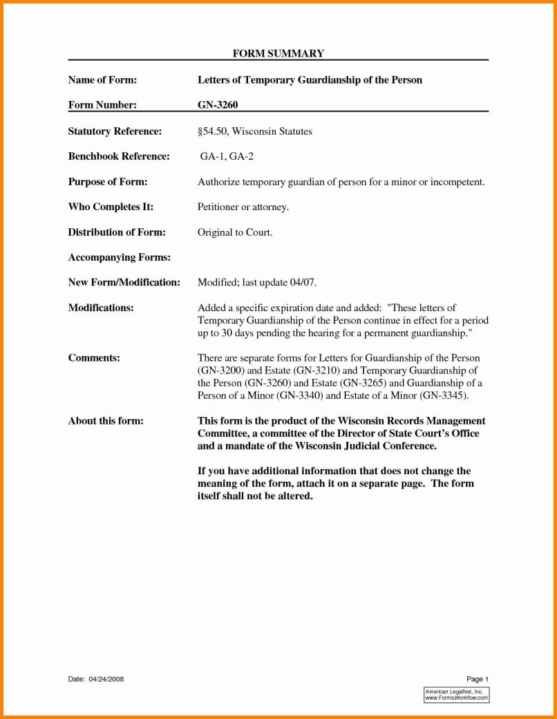 Template For Temporary Guardianship Letter Examples