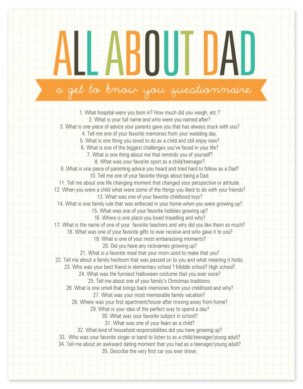 All about Dad Questionnaire Free Printable