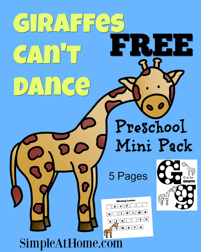 Giraffes Cant Dance Free Preschool Printable and Activities