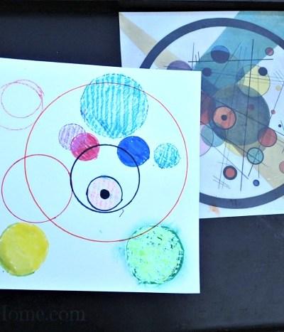 Invitation to create: circle collage, process art,