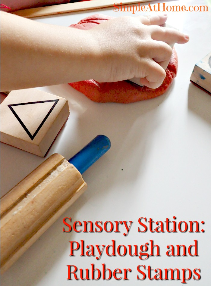 this playdough and rubber stamp sensory station is just perfect for little ones.