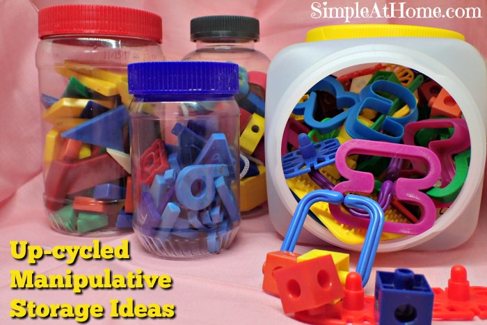 Up-cycled Manipulative Storage ideas