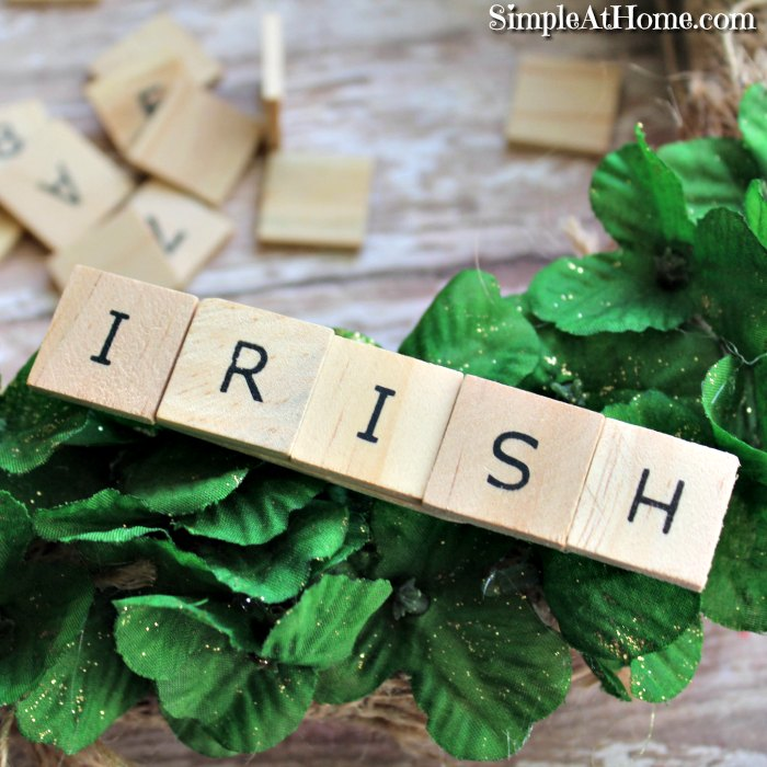 How cute are these scrabble tiles on this St. Patrick's Day Wreath
