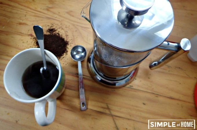 Green Living Coffee with a French Press