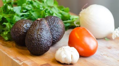Ingredients for making homemade guacamole