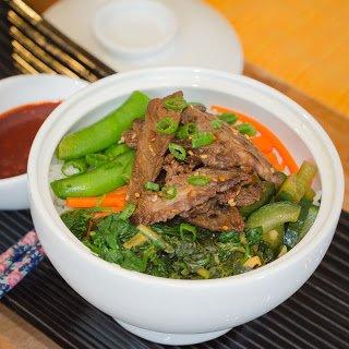 Bi-Bim-Bap with Beef Bulgogi and Vegetables
