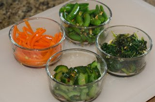Carrots, Snap Peas, Spinach and Cucumbers for Bi-Bim-Bop