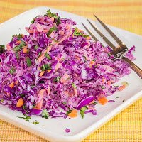 Red Cabbage and Carrot Salad with Yogurt Dressing