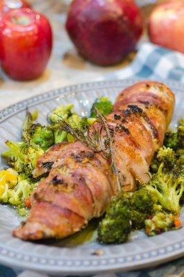 Bacon Wrapped Pork Tenderloin with a Garlic Rosemary Rub