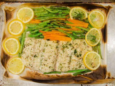 Parchment Cooked Halibut in Olive Oil with Green Beans and Carrots