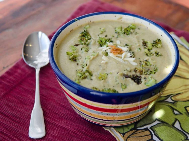 Roasted Broccoli and Roasted Garlic are the key to an awesome Broccoli and Cheddar Soup