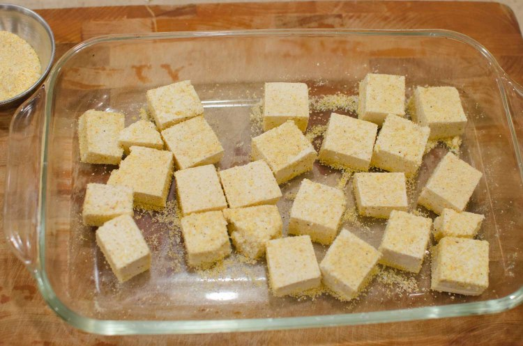 Tofu Cubes Dredged with Cornmeal and Seasoning