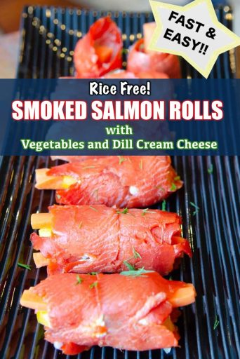 No rice needed in these keto and paleo friendly smoked salmon sushi rolls