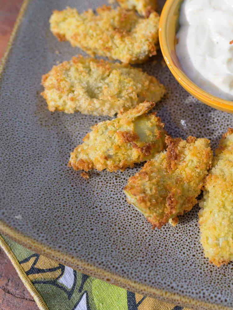 Crispy Air Fried Artichoke Hearts with Garlic Aioli