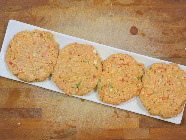 Canned Salmon Burgers pressed into 4 rounds