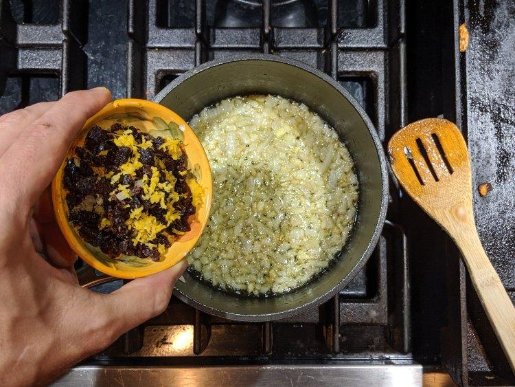 Adding Lemon Zest and Zaatar to Garlic and Onions