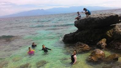 swimming at the water basins