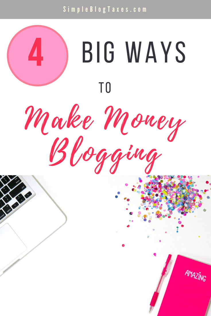 4 Big Ways to Make Money Blogging. Get the easiest ways to start making money on your blog today. There is something for every style of blogger. #BlogTips #MakeMoneyBlogging #BlogIncome #BlogIncomeTips #BlogTaxes SimpleBlogTaxes.com