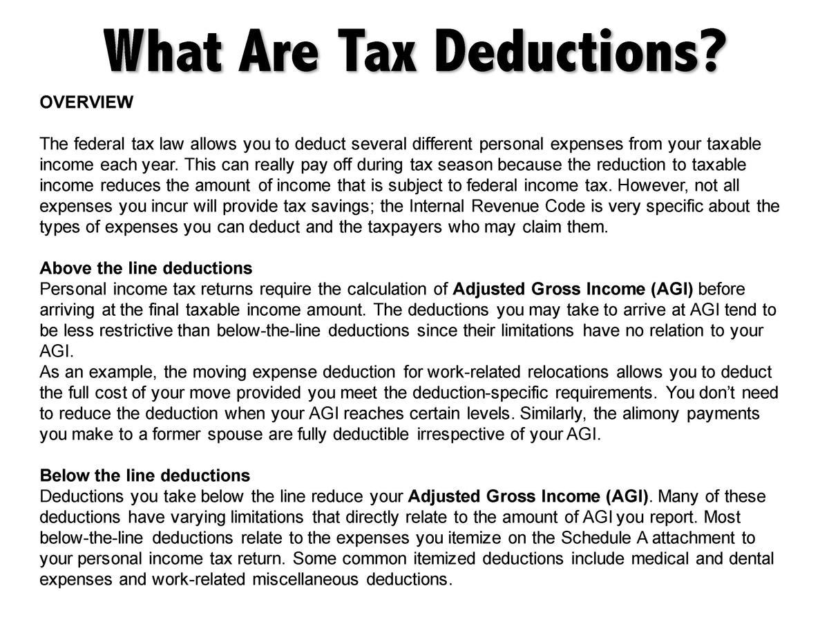 Above The Line Vs Below The Line Deductions