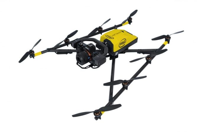 Intel Corporation on Oct. 11, 2016, announced the Intel Falcon 8+, an advanced drone with full electronic system redundancy that is designed with safety, ease, performance and precision for the North American markets. The Intel Falcon 8+ is outfitted for industrial inspection, surveying and mapping geared towards professionals and experts. (Credit: Intel Corporation)