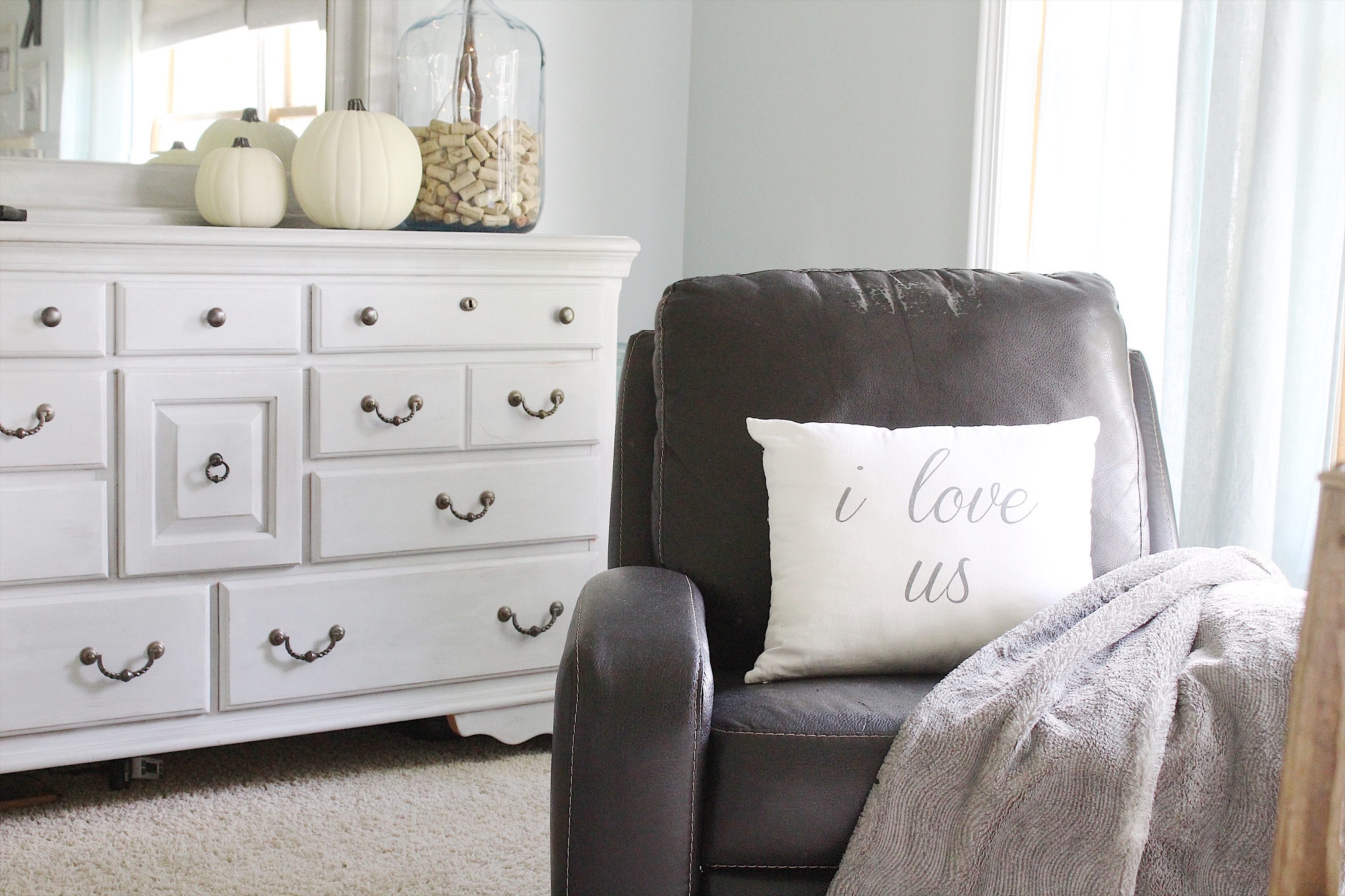 Cozy Bedroom Reveal and a Chalk Painted Pillow   Simple Cozy Charm I found this arrangement I put together last year  and even prettied up our  master bathroom