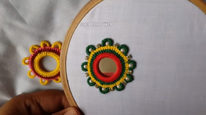 Hand Embroidery Mirror Work With Multi Design Simple