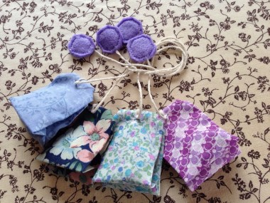 Purple themed tea bags