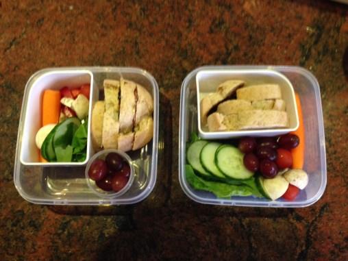 Sliced bread with vegemite, and salad vegetables