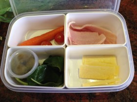 Ham, cheese, carrot, olives, tomatoes and baby spinach