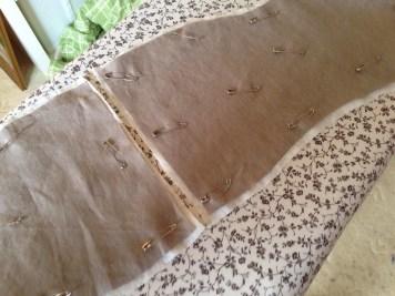 Pin-basting the corset