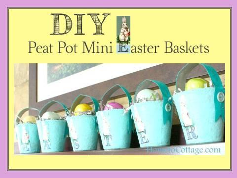HometoCottage.com DIY peat pot mini easter baskets
