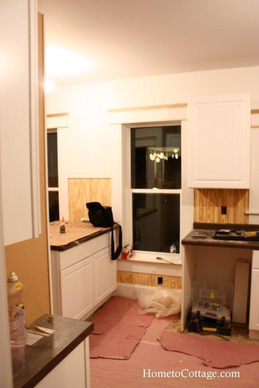 HometoCottage.com brick cottage kitchen during reno