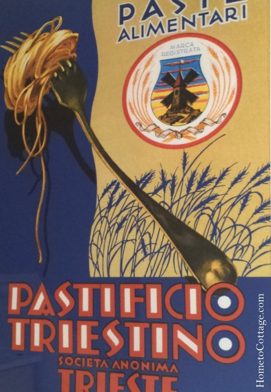 HometoCottage.com Windmill pasta advertising poster