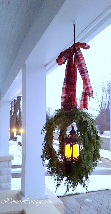 HometoCottage.com hanging lanterns with plaid bow