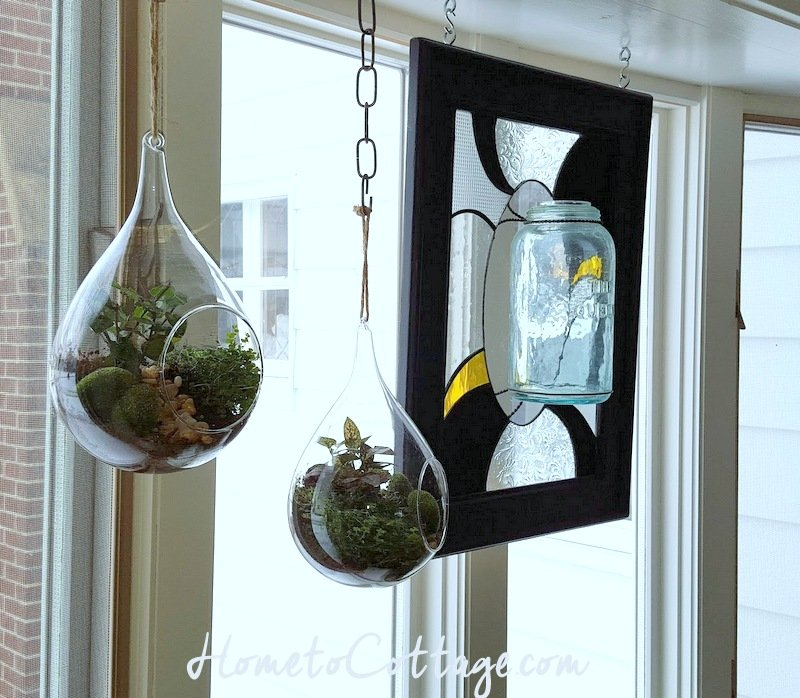 HometoCottage.com hanging terrariums look good with antique mason jar stained glass art
