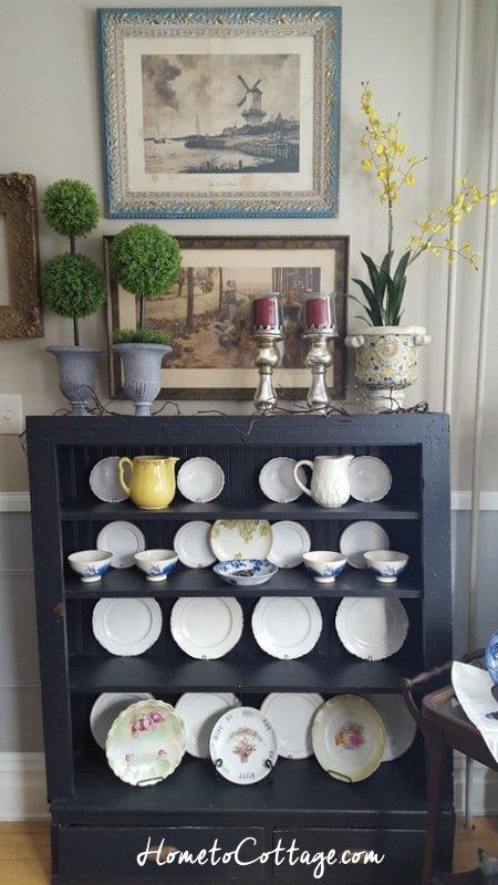 HometoCottage.com arrangement on black plate cupboard