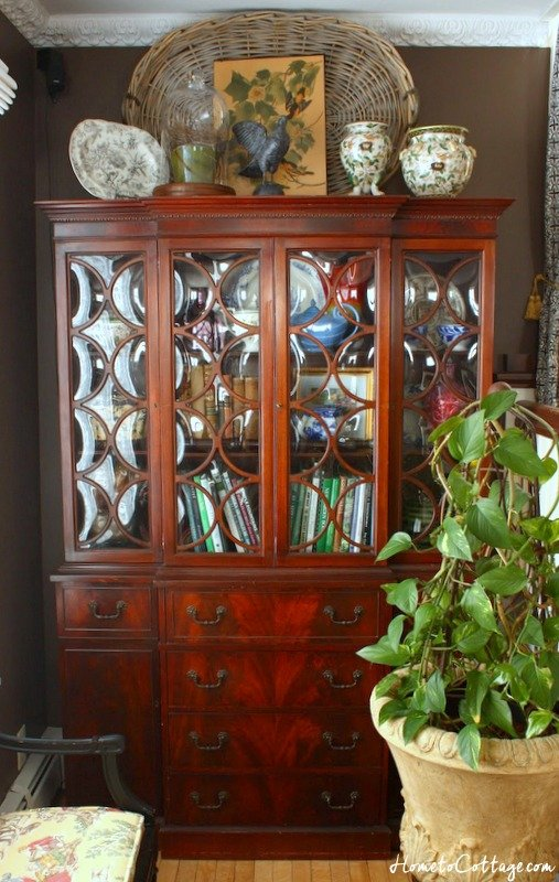HometoCottage.com vintage breakfront secretary with bubble glass 1