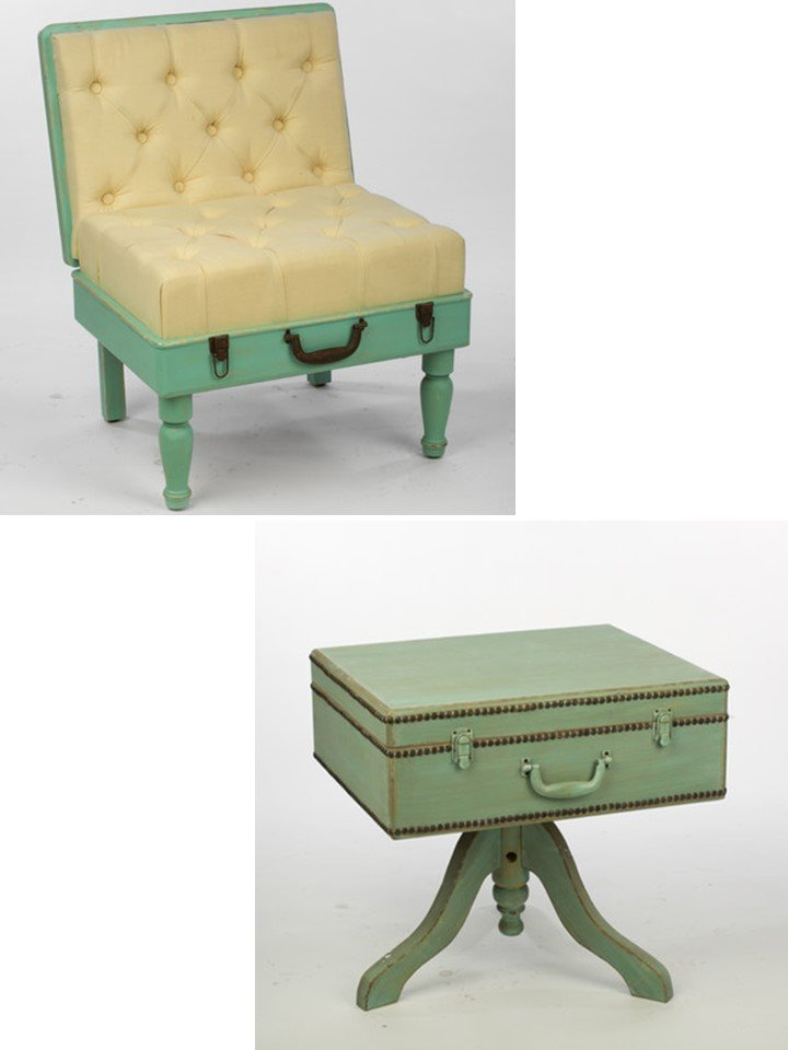 HometoCottage.com mint green luggage chair and table
