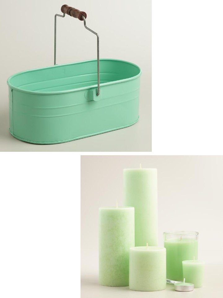 HometoCottage.com mint green bucket and candles