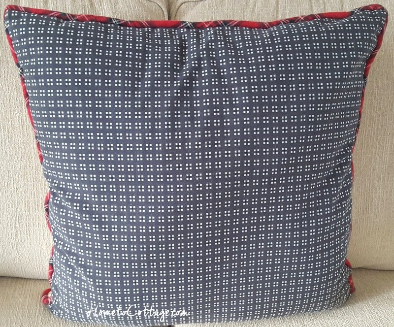 HometoCottage.com french knot red berry wreath pillow back