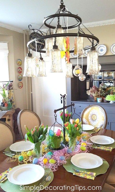 SimpleDecoratingTips.com dining room set up for kid's Easter dinner