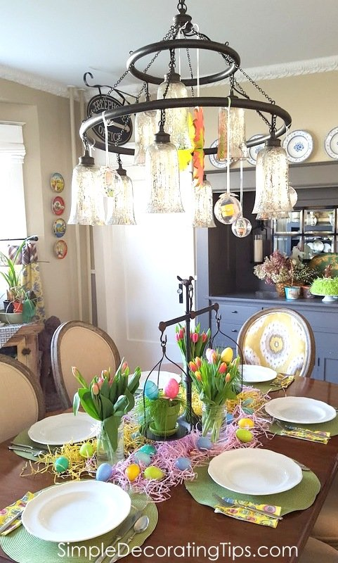 SimpleDecoratingTips.com dining room set up for kid's Easter dinner