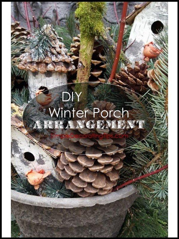 SimpleDecoratingTips.com DIY Winter Porch Arrangement