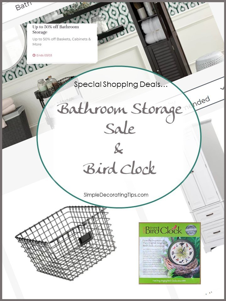 bathroom storage sale and bird clock simpledecoratingtips.com