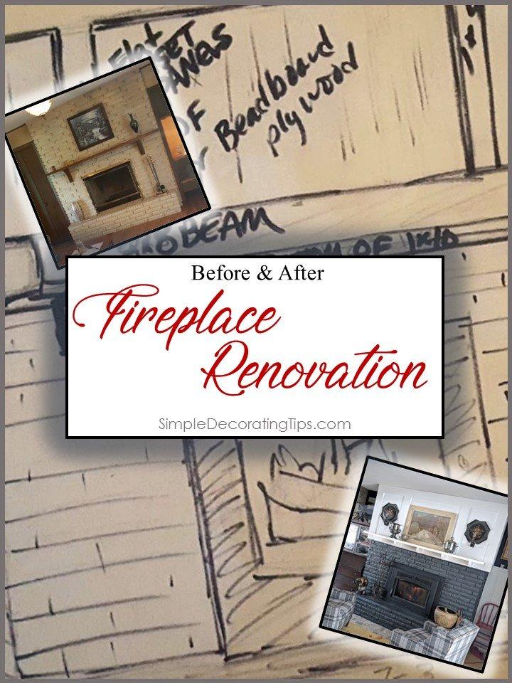 before and after fireplace renovation SimpleDecoratingTips.com