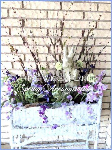 Vintage Wicker Planter Spring Arrangement