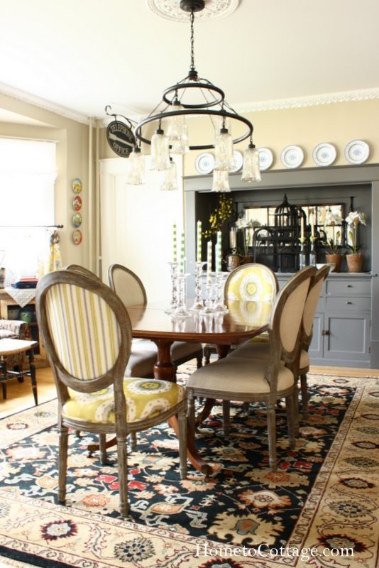 HometoCottage.com World Market Chairs with vintage dining table