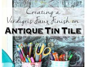 HometoCottage.com Creating a Verdigris Faux Finish on Antique Tin Tile
