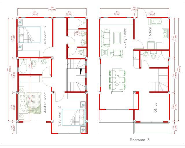 Cool House Plans 6x9 Meter 20x30 Feet 3 Beds Layout Floor Plan