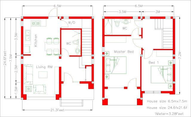 House Designs Plans 6.5x7.5m 22x25f 2 beds floor plan